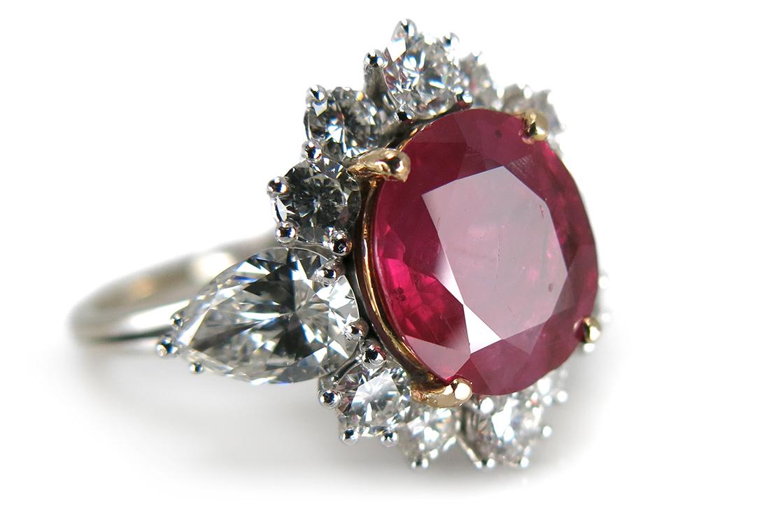 ring rubin 3 2 karat 12 diamanten 1 74 ct 750 wei gold brors 13504 ebay. Black Bedroom Furniture Sets. Home Design Ideas