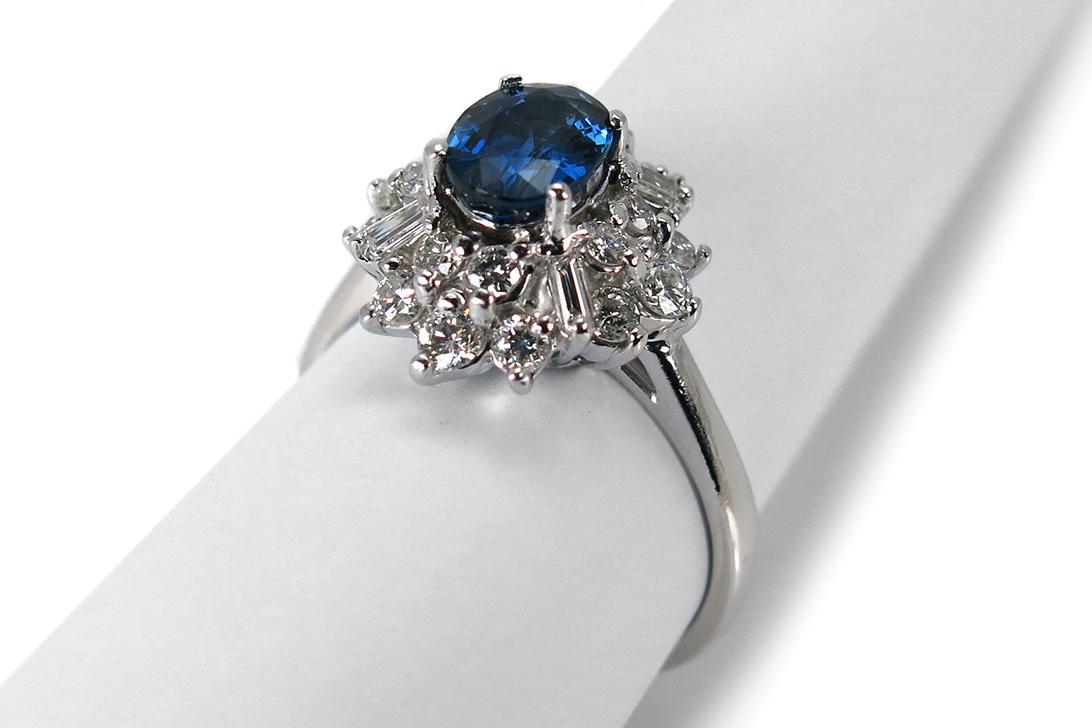 Ring-Saphir-ca-1-0-ct-Diamanten-insg-0-82-ct-G-vs-585-Weissgold-BRORS-16475 Indexbild 2
