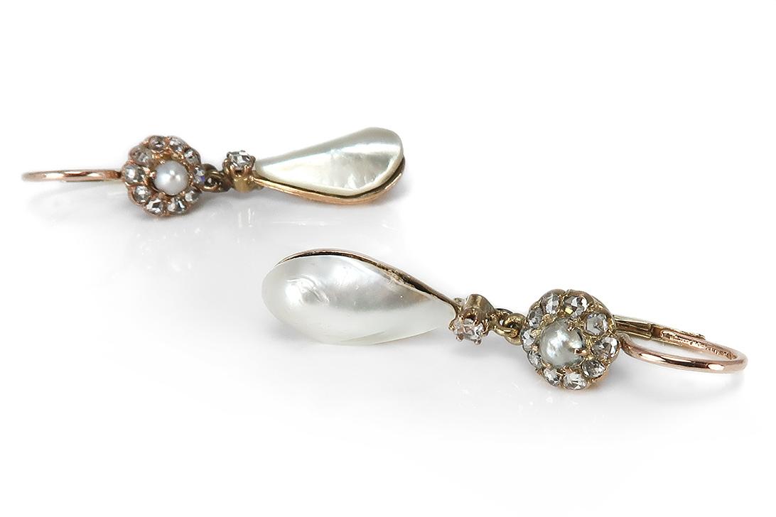 Ohrringe-antik-ca-1900-mit-Diamanten-Barock-Perlen-585-Gold-BRORS-17123 Indexbild 2