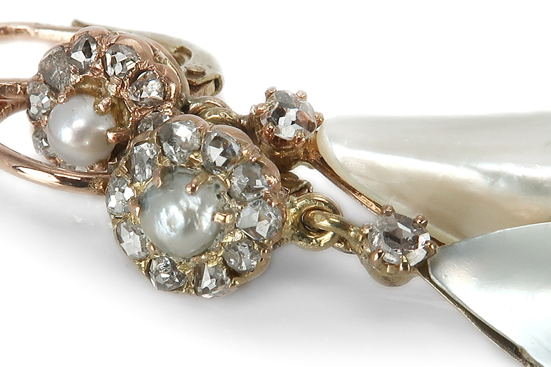 Ohrringe-antik-ca-1900-mit-Diamanten-Barock-Perlen-585-Gold-BRORS-17123 Indexbild 3