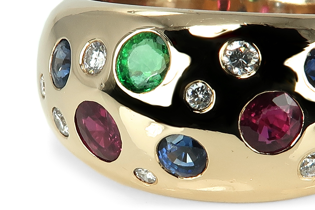 Heinekamp-Ring-Brillanten-Smaragd-Saphir-Rubin-750-Gelbgold-BRORS-17224 Indexbild 3