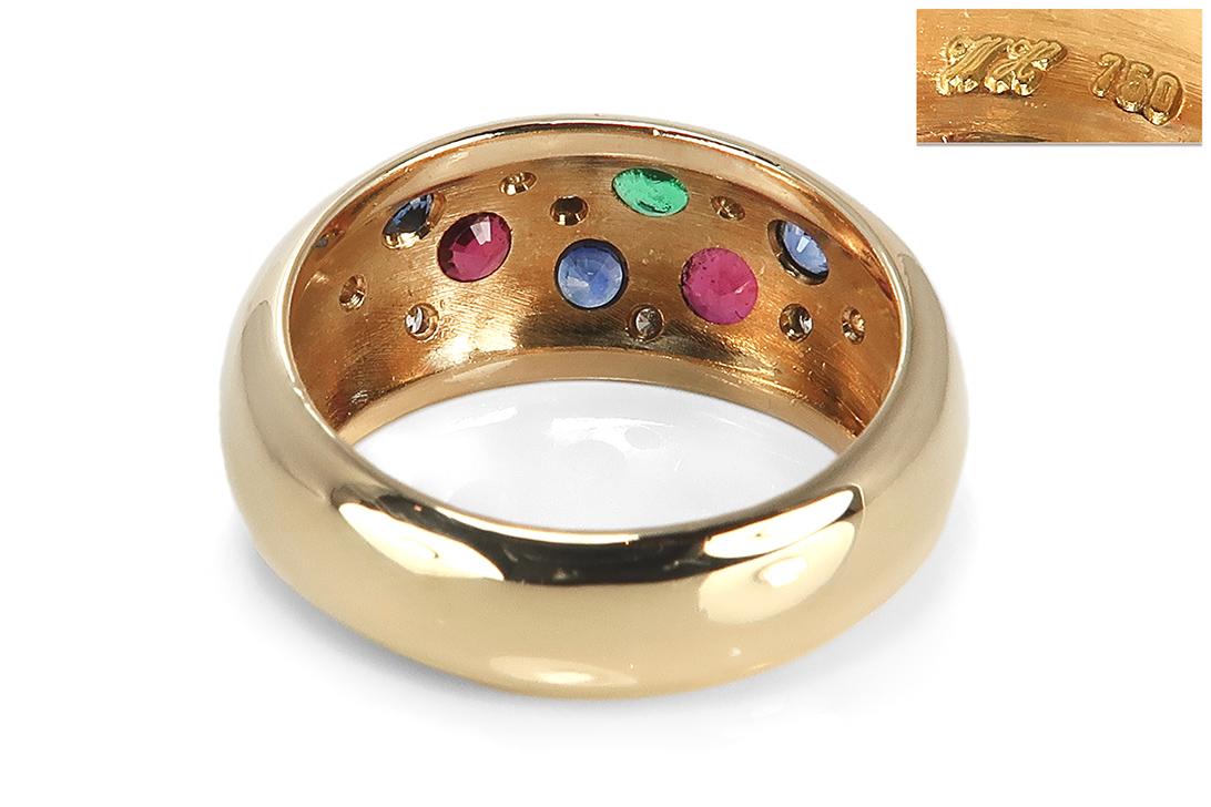 Heinekamp-Ring-Brillanten-Smaragd-Saphir-Rubin-750-Gelbgold-BRORS-17224 Indexbild 4